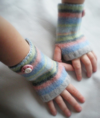 Felted Tiny Wrist Warmers Made With Recycled Sweater Sleeves - Smart!