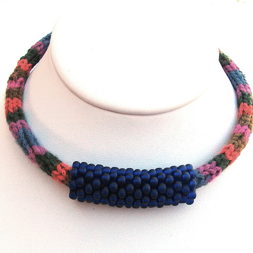 Knitted Silk and Cotton Choker with Beaded Bead