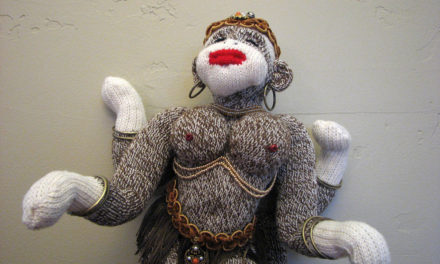 Sarasvati, the Hindu Goddess of All Arts, Re-Imagined as a Sock Monkey