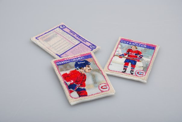 Cross-Stitched Montreal Canadiens Hockey Cards