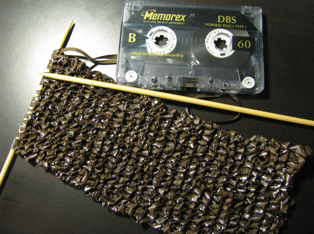 She Knit A Scarf Using Cassette Tape