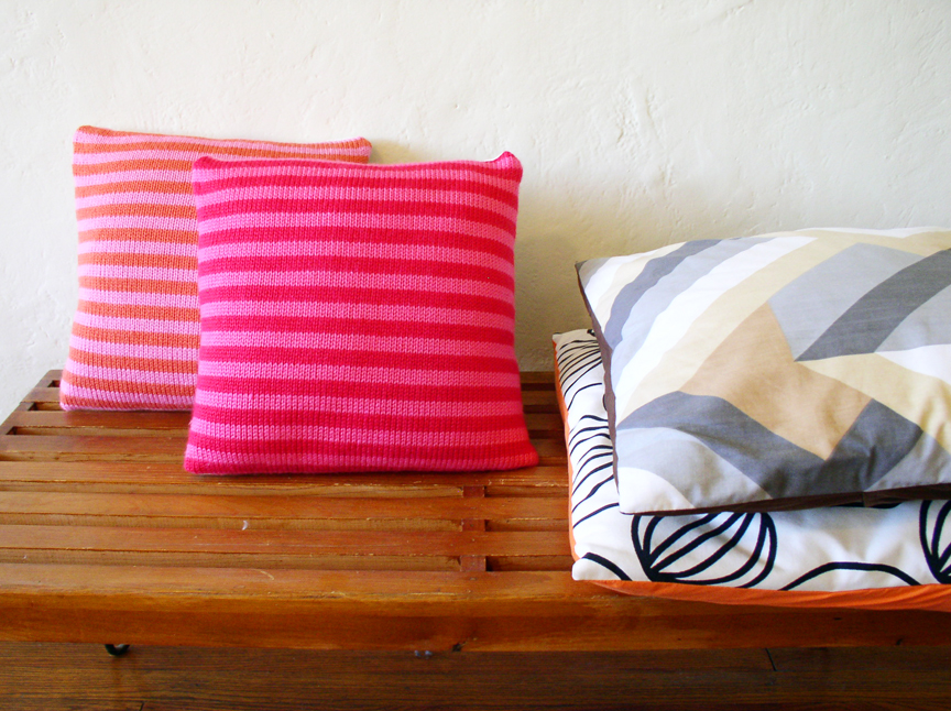 Striped Pillows Knit By Kitsch Cafe