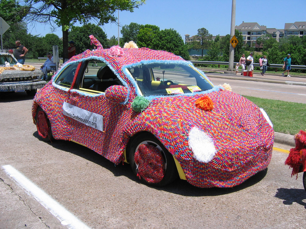VW Bug Wrapped in a Cozy Spotted at the Art Car Parade, Houston Texas