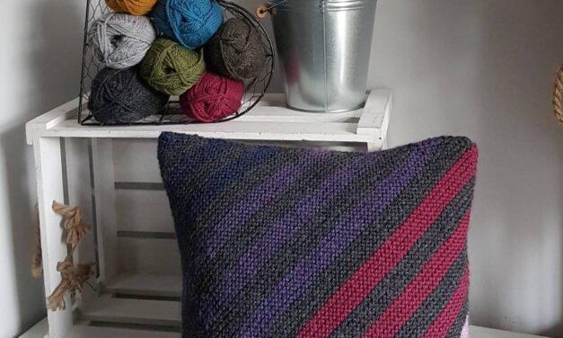 Knit a Simple Striped Garter Stitch Cushion Cover