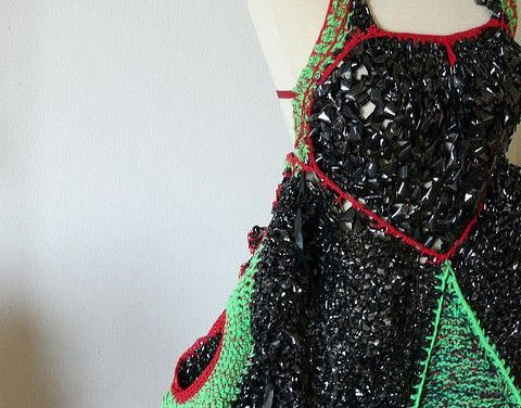 Adorable Dress Knitted and Crocheted With VHS Tape