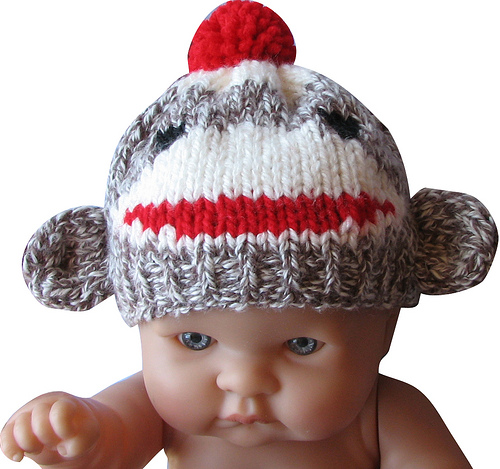 Knitted sock monkey hat for a newborn baby knithacker knitted sock monkey hat for a newborn baby dt1010fo