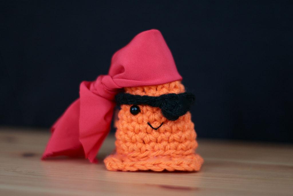 She Crocheted a Pirate Safety Cone Amigurumi ... ARRRRRR!