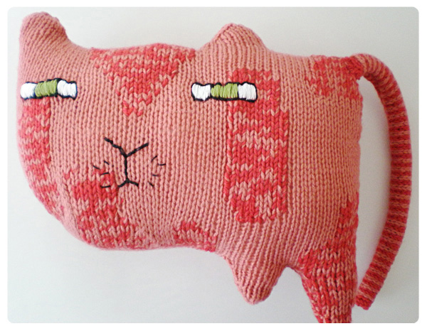 Unique Knitted Kitty-Cat Pillow
