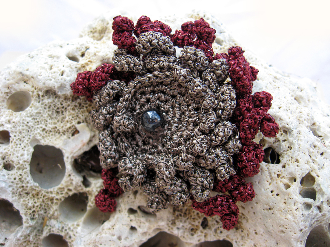 She Crocheted a Metallic Sea Flower Brooch - Beautiful!