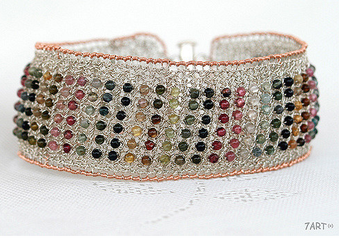 Knitted Wire Bracelet Inlaid With Colorful Tourmaline