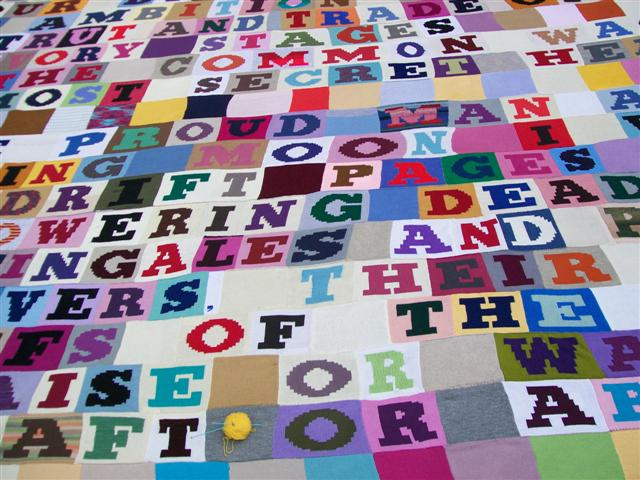 National Poetry Day yarn bomb