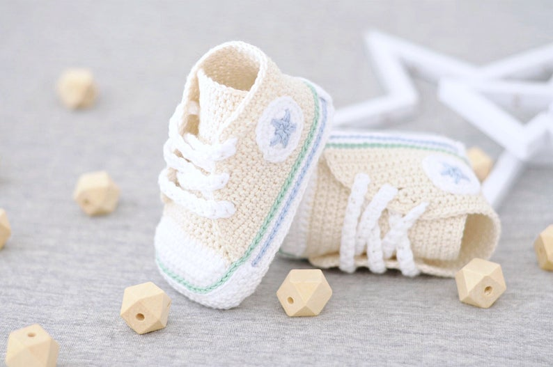 Crochet a Pair of Converse Baby Booties! Get Patterns For Popular Shoe Styles!