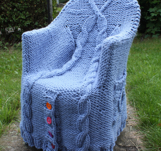A Cable-Knit Cardigan Fit For a Chair … Get the FREE Pattern
