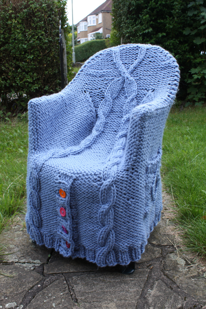 A Cable-Knit Cardigan Fit For a Chair ... Get the FREE Pattern
