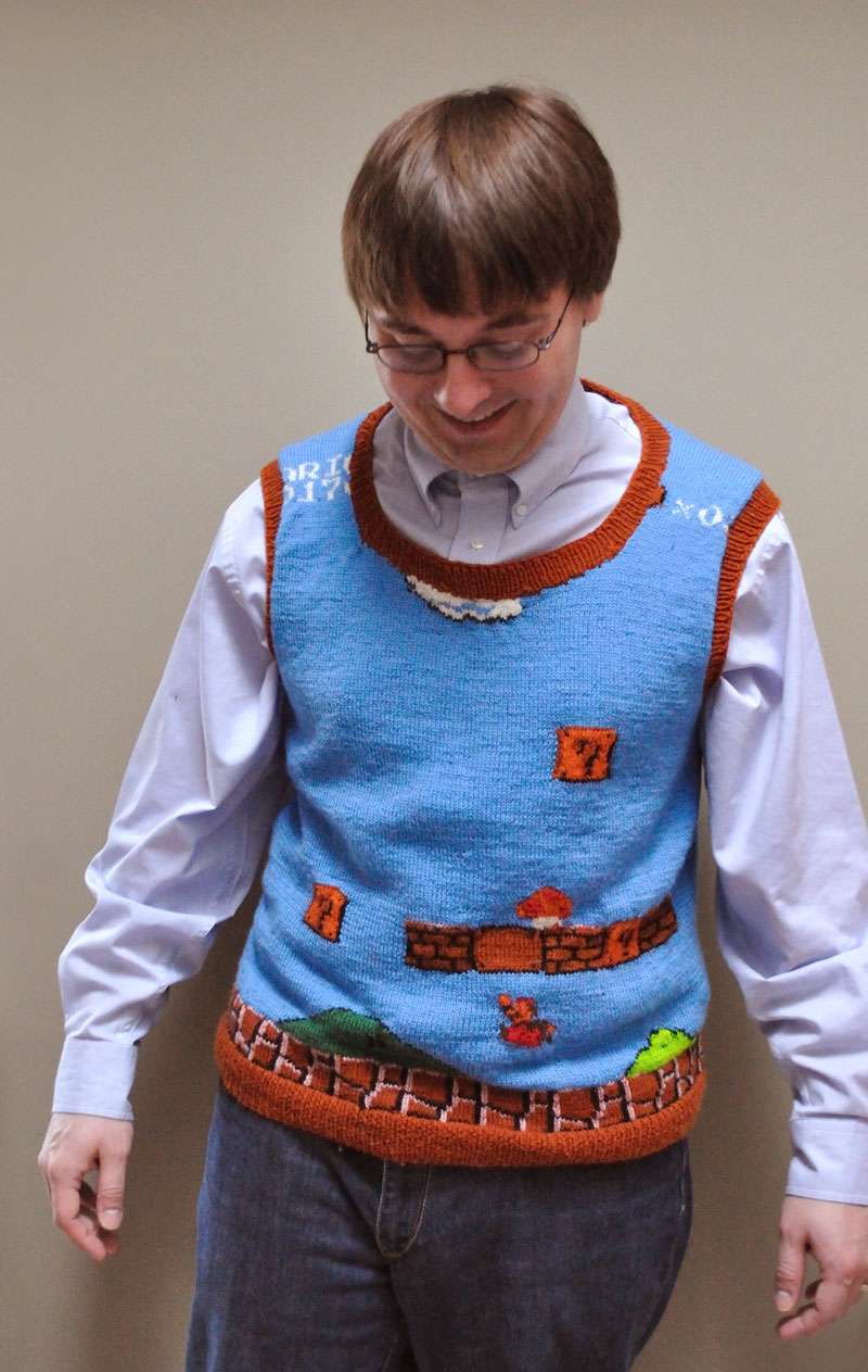 Knit a Super Mario Sweater Vest - Free Pattern Now Available!