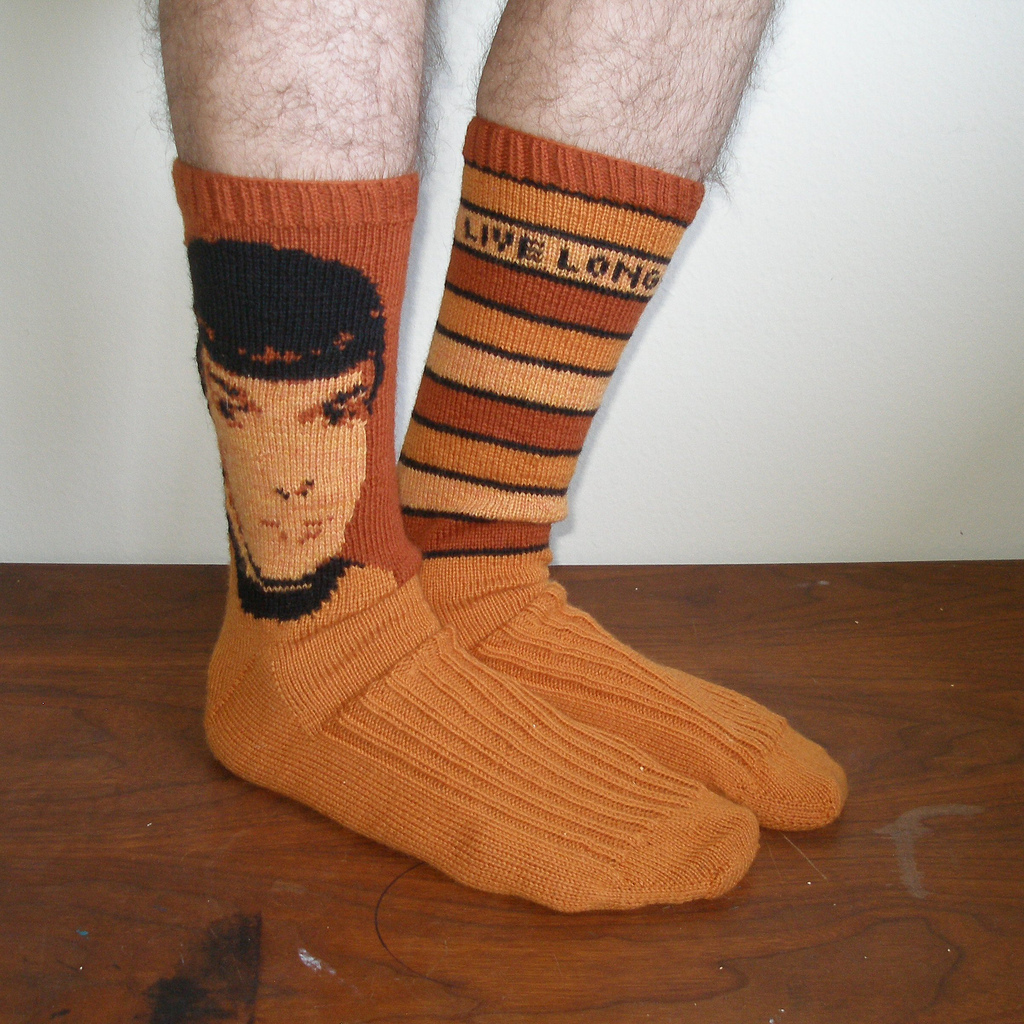 Knitted Spock Socks - A True Classic! Bonus: Free Star Trek Charts!