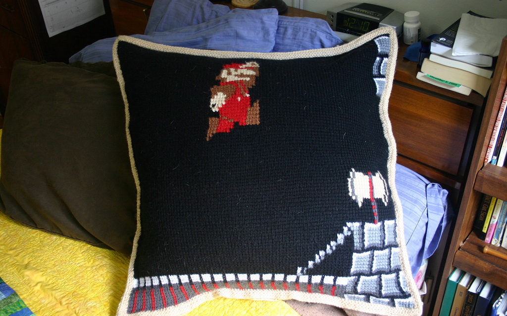 Super Mario Pillow In Tunisian Crochet