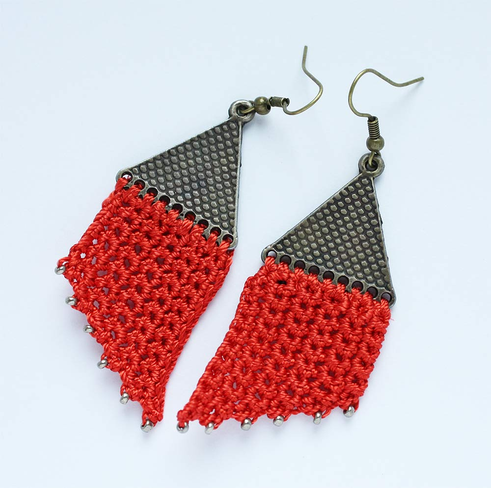 Red Crocheted Earrings - These Are Totally Wearable!