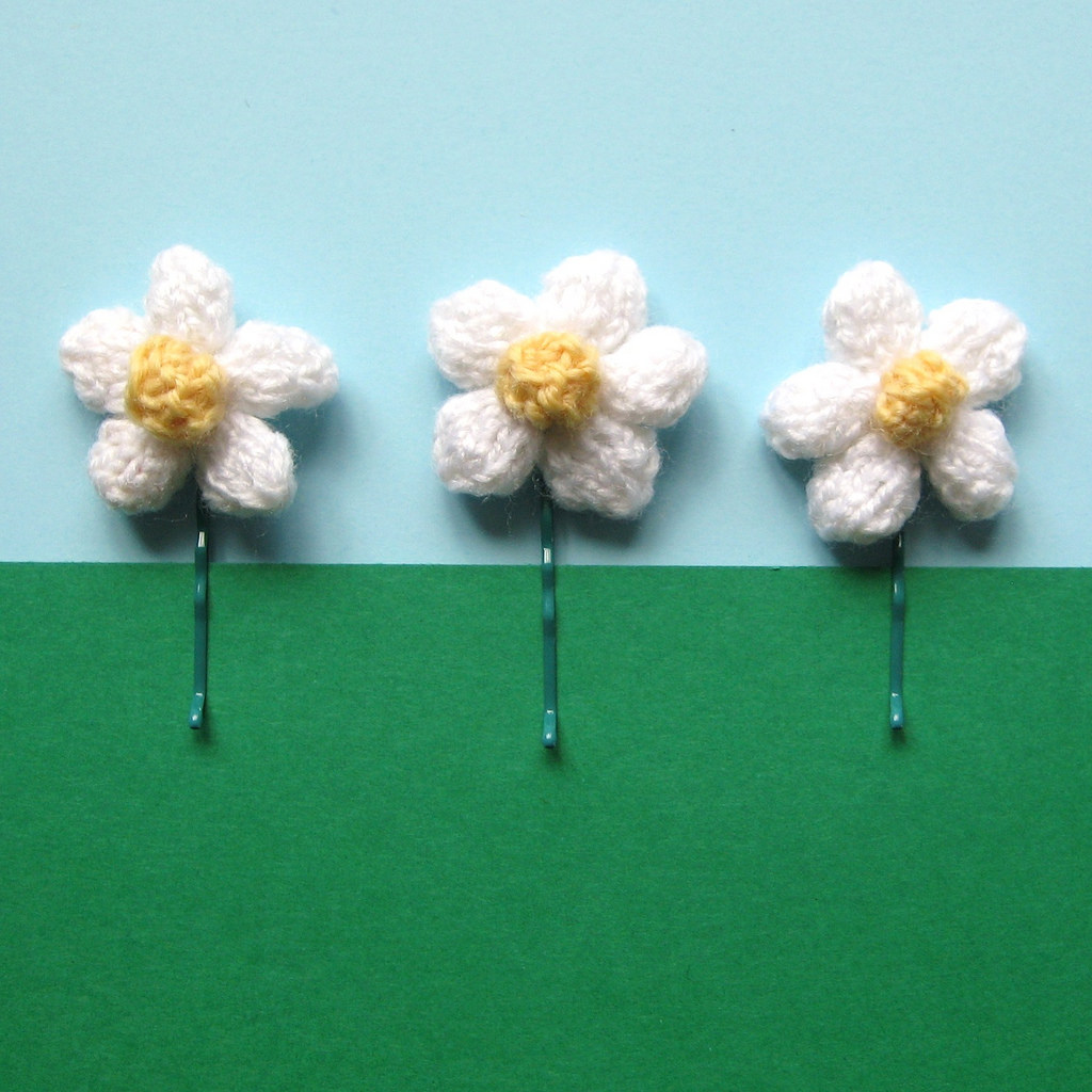 Knitted Daisy Hair Pins By Amanda Berry