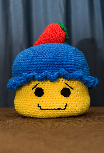 Crocheted Mr. Lego Cupcake
