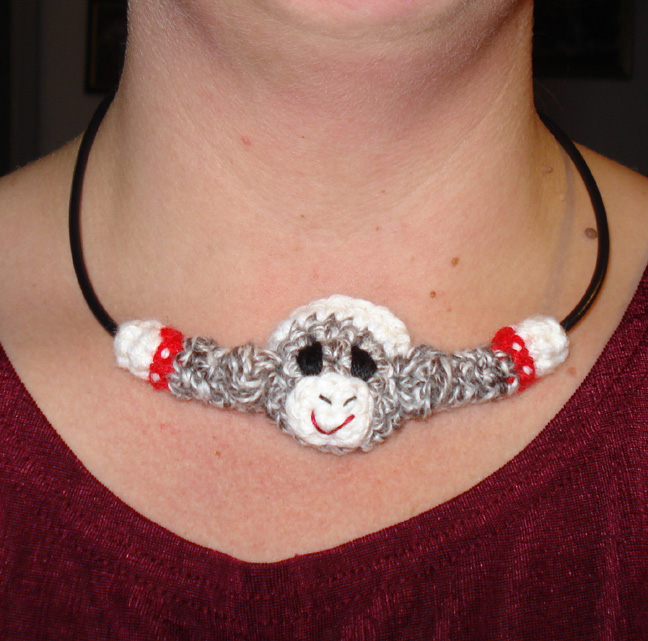 A Crochet Sock Monkey Necklace!