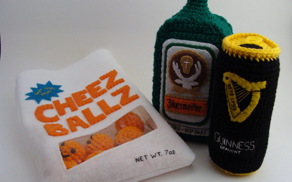 She Crocheted Cheese Puffs, Jaegermeister and a Can of Guinness!