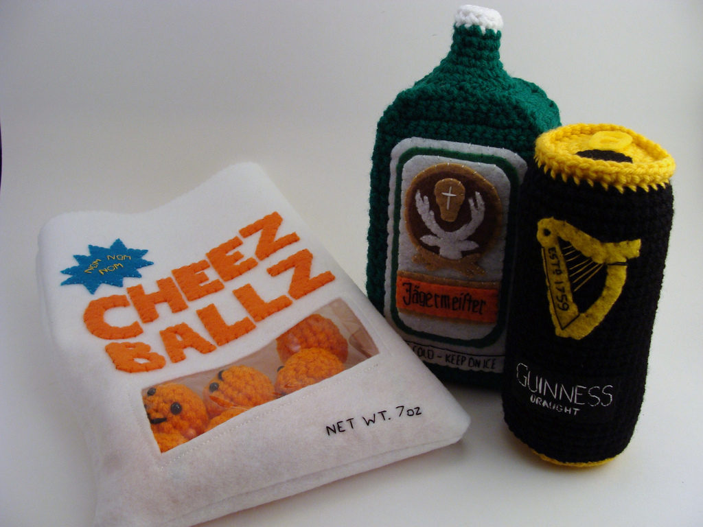 Cheese Puffs, Jaegermeister and a Can of Guinness