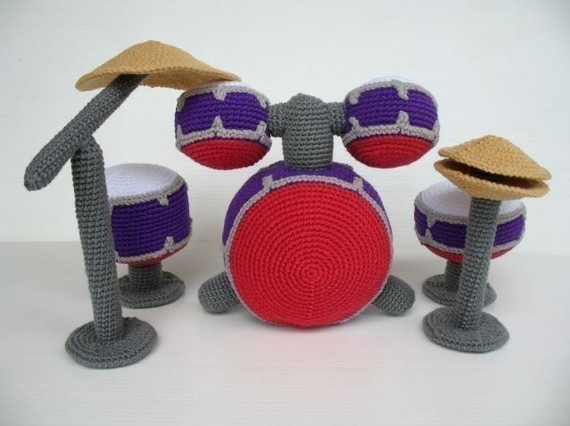 Crazy Cool Crochet Drum Kit by SkyMagenta