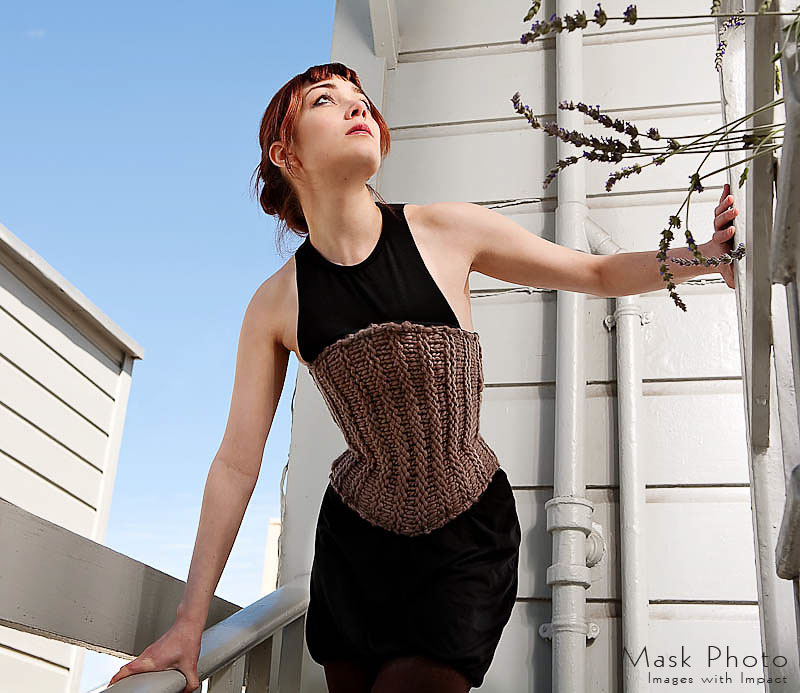 Antique Knit Corset Made By Pop Antique, Modeled by Victoria Dagger