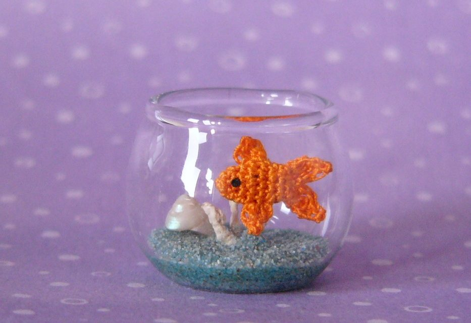 A Crochet Fish in a Fishbowl by MUFFA Miniatures