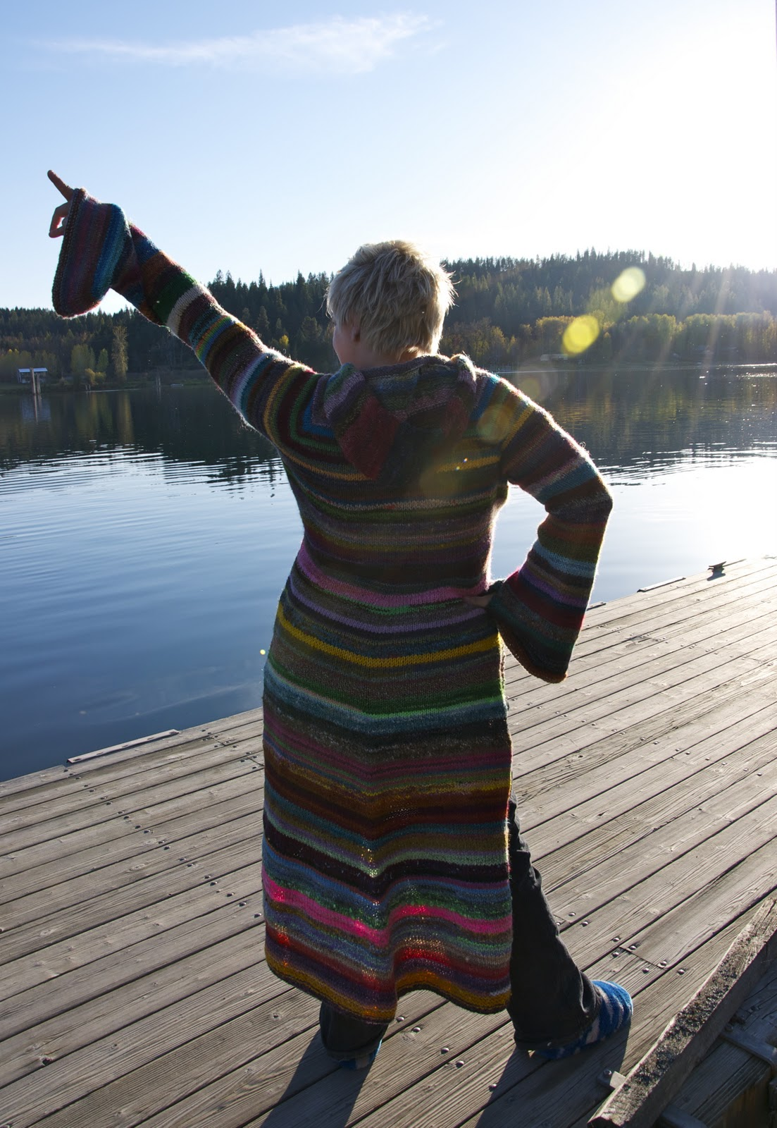 She Knit an Amazing Top-Down Technicolor Hoodie Sweater in Just 8 Weeks!