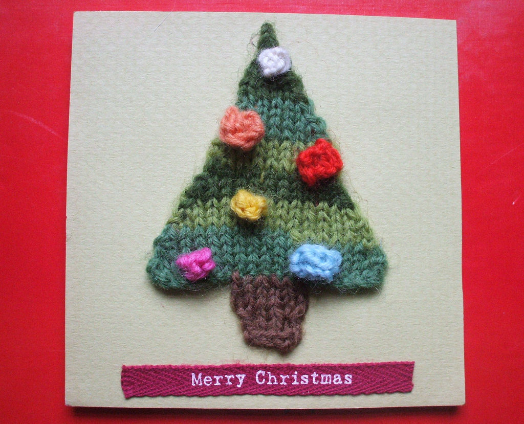 handmade knitted christmas cards