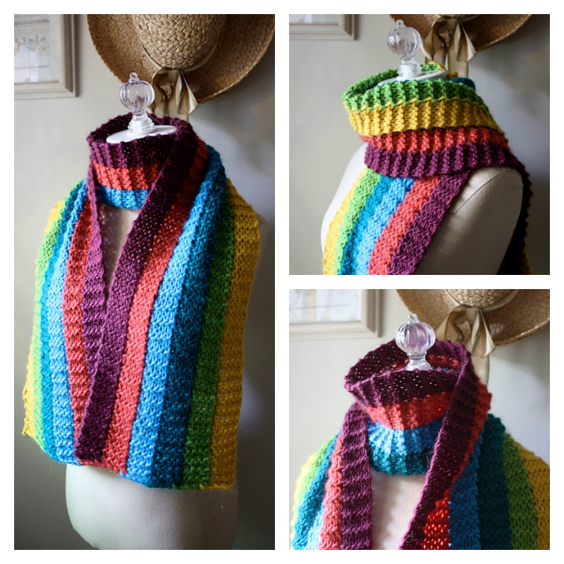 I Love This Rainbow Knit Scarf - Great Stashbuster!