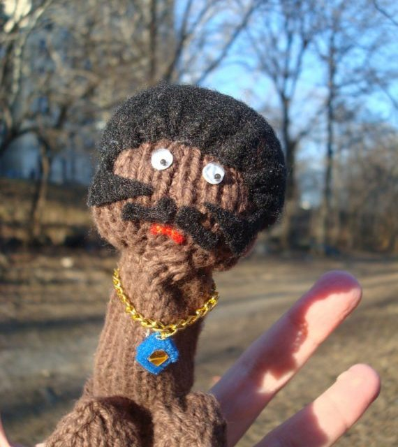 She Knit a Shaft Finger Puppet – It's a Penis!