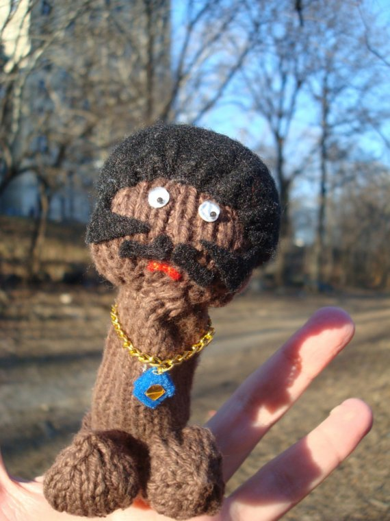 She Knit a Shaft Finger Puppet - It's a Penis!