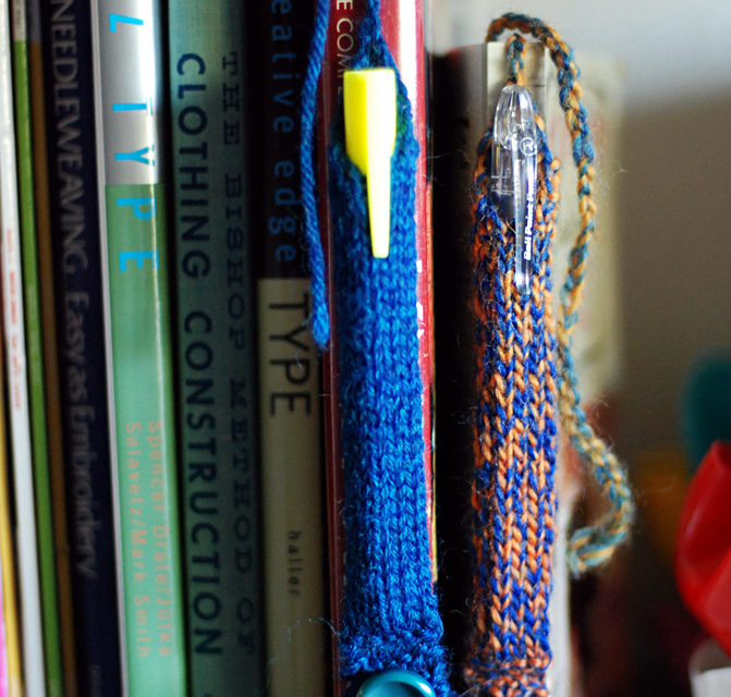 A Great Idea From Lee Meredith: Knitted Pen Tube Bookmarks! Hello, Gift Alert!