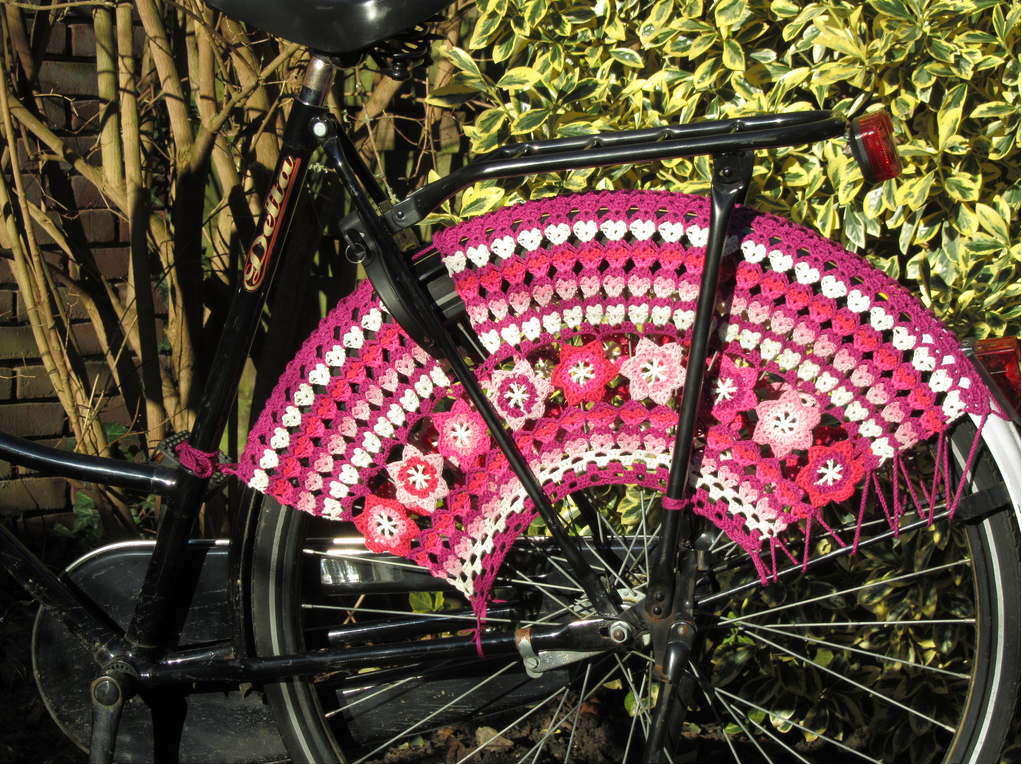Cyclists, Check Out These Fab Fuchsia Skirt Guards Crocheted by Just-Do