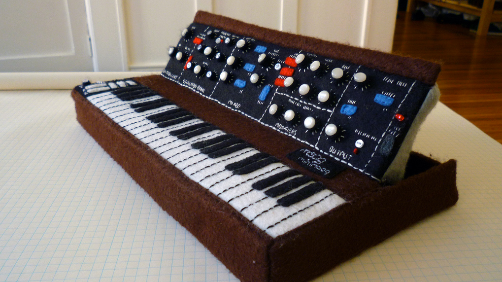 Handmade Felted Moog Minimoog With Working LEDs!