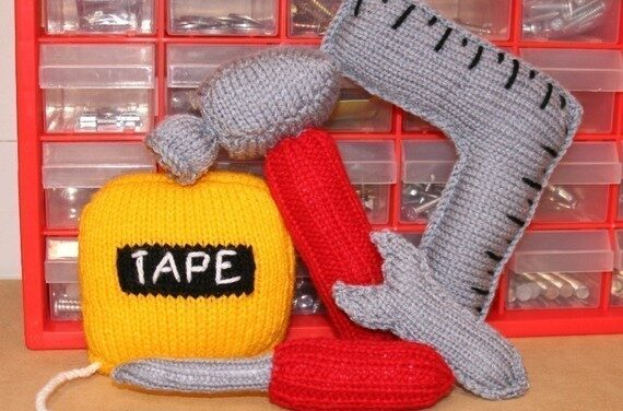Knit A Tool Set – Pattern Includes Hammer, Tape Measure, Screwdriver, Spanner & Square
