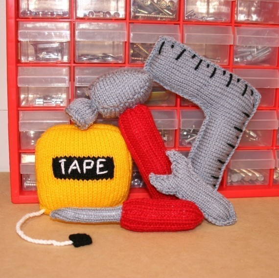 Knit A Tool Set - Pattern Includes Hammer, Tape Measure, Screwdriver, Spanner & Square