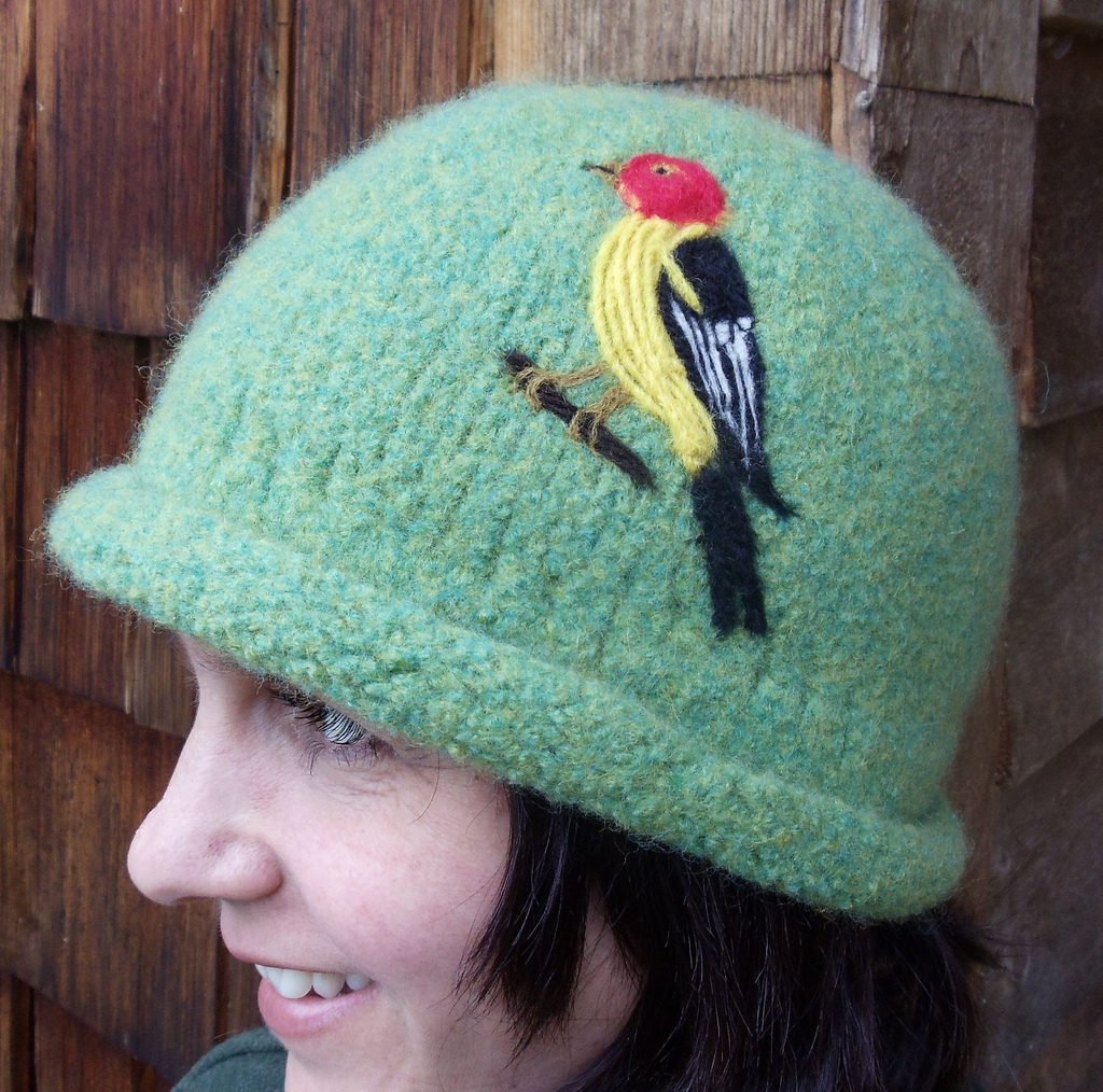 This Lovely Knitted Cloche Hat Features A Felted Western Tanager