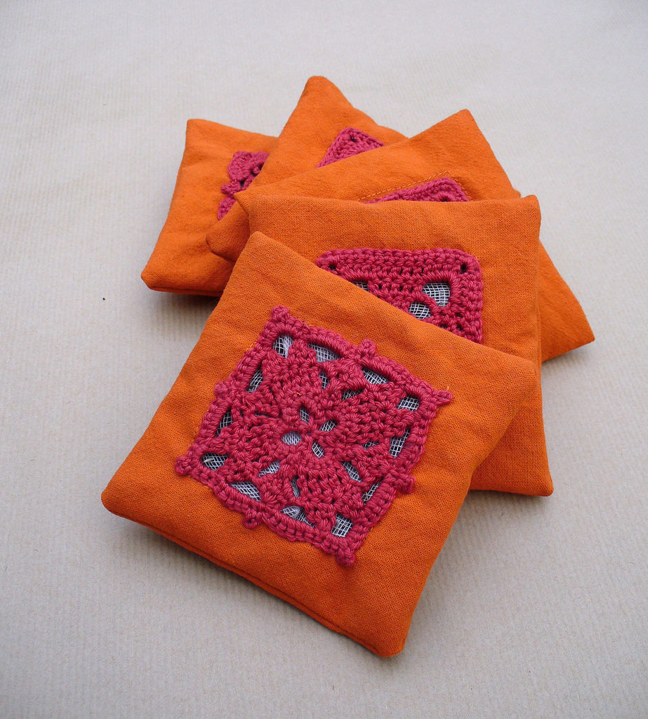 Beautiful Orange Lavender Bags Embellished With Crochet