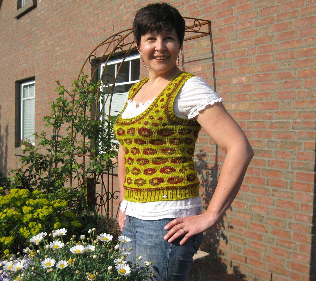 Knitted Poppy Vest Based On A Kaffe Fassett Motif