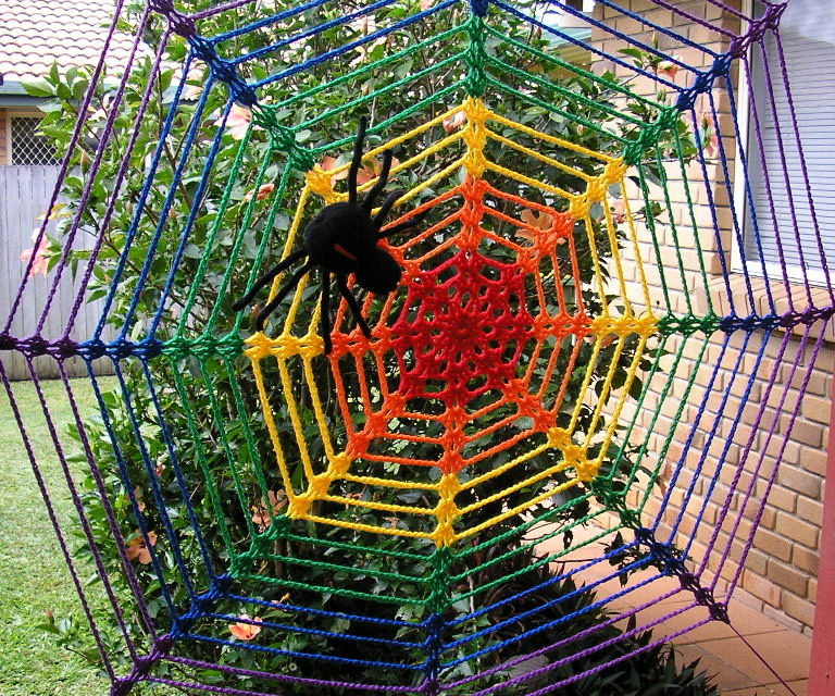Jenny's Giant Rainbow Spider Web Yarn Bomb