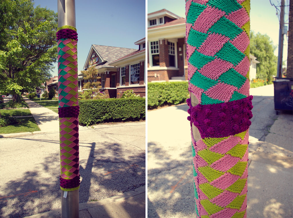 Awesome Entrelac Yarn Bomb - That's Some Fancy Knitting!