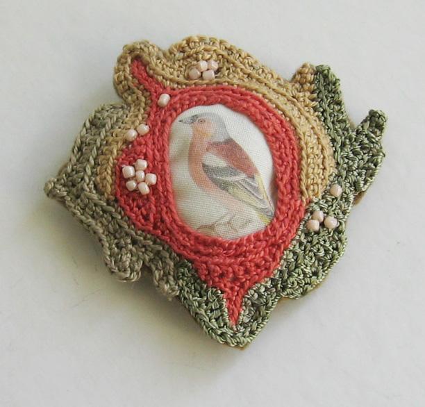Beautiful Bird Pin - It's Crocheted!