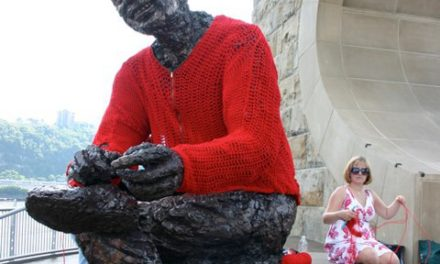 Famous Mr. Rogers Sweater Yarn Bomb