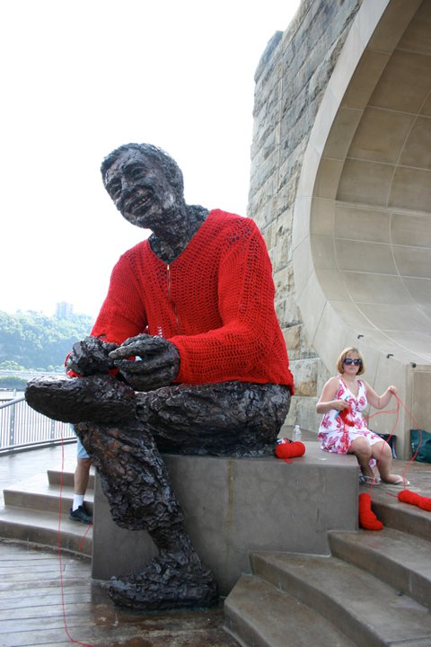 Famous Mr. Rogers Sweater Yarn Bomb by Alicia Kachmar