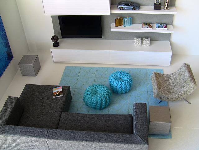 2 Knitted Poufs 1 Living Room