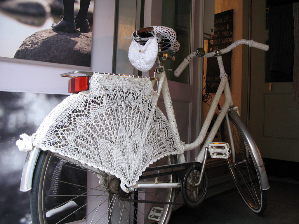 Gorgeous Estonian Lace Skirt Guard For a Bicycle